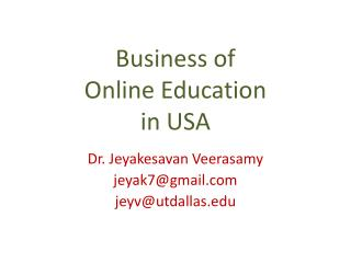 Business of  Online Education  in USA