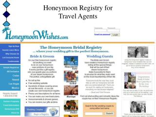 Honeymoon Registry for       Travel Agents