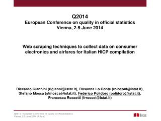 Q2014 European Conference on quality in official statistics Vienna, 2-5 June 2014