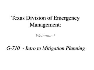 Texas Division of Emergency  M anagement: