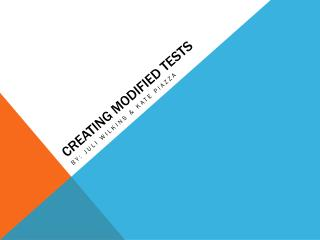 Creating Modified Tests