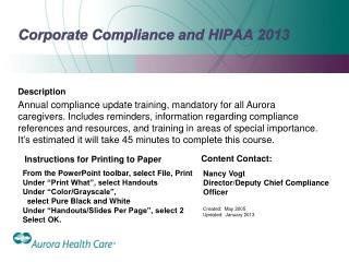 Corporate Compliance and HIPAA 2013