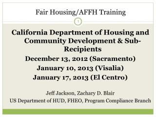 Fair Housing/AFFH Training