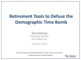 Retirement Tools to Defuse the Demographic Time Bomb