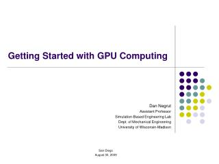 Getting Started with GPU Computing