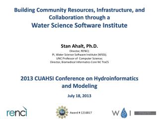 Building Community Resources, Infrastructure, and Collaboration through  a Water Science Software Institute