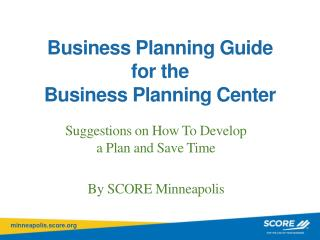 Business  Planning Guide for the Business Planning Center