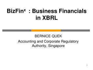 BERNICE QUEK Accounting and Corporate Regulatory Authority, Singapore