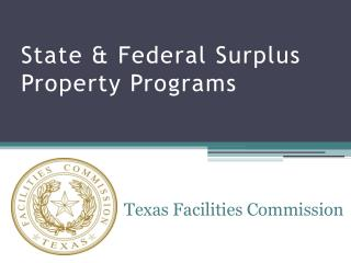 State & Federal Surplus Property Programs