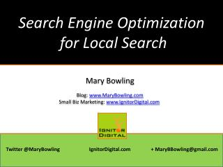 Search  Engine Optimization  for Local Search