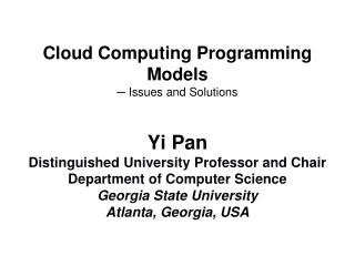 Cloud Computing Programming Models  ─  Issues and Solutions