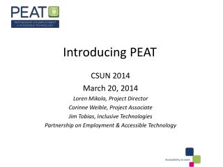 Introducing PEAT