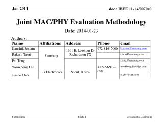Joint MAC/PHY Evaluation Methodology