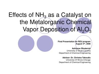 Effects of NH 3  as a Catalyst on the Metalorganic Chemical Vapor Deposition of Al 2 O 3