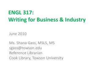 ENGL 317: Writing for Business & Industry