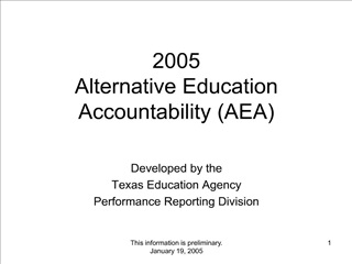 2005 Alternative Education Accountability AEA