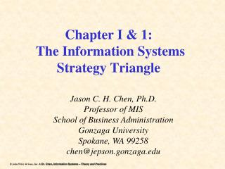 Chapter I & 1:  The Information Systems Strategy Triangle