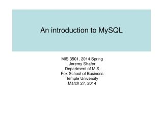 An introduction to MySQL