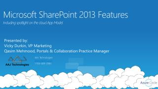 Microsoft SharePoint  2013 Features  Including spotlight on the  c loud  App Model