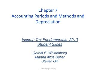 Chapter 7 Accounting Periods and Methods and Depreciation