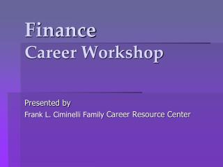 Finance Career Workshop