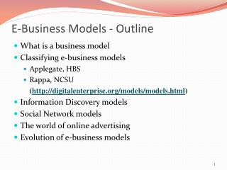 E-Business  Models - Outline