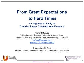From Great  Expectations to Hard  Times  A  Longitudinal Study of  Creative Sector Graduate New  Ventures Richard Hanag