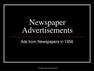 Newspaper Advertisements