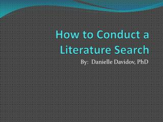 How to Conduct a Literature Search