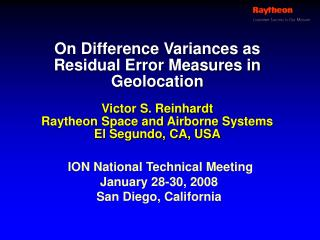 On Difference Variances as Residual Error Measures in Geolocation
