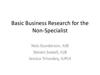 Basic Business Research for the Non-Specialist