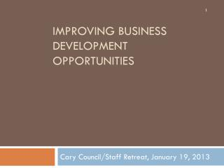 Improving Business Development Opportunities