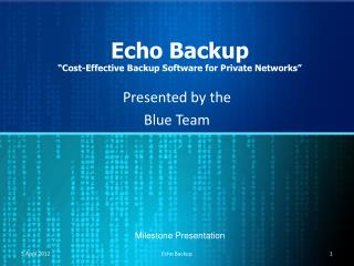 "Echo Backup ""Cost-Effective Backup Software for Private Networks"""