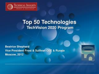 Top 50  Technologies TechVision 2020 Program