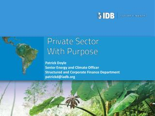 Patrick Doyle Senior Energy and Climate Officer Structured and Corporate Finance Department patrickd@iadb.org