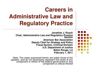 Careers in Administrative Law and Regulatory Practice