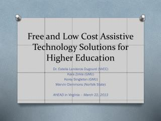Free and Low  Cost  Assistive Technology Solutions for Higher Education