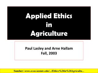 Applied  Ethics  in  Agriculture