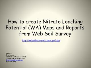 How to create Nitrate Leaching Potential  ( WA) Maps and Reports from Web Soil Survey