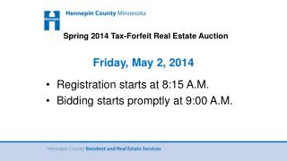 Spring 2014 Tax-Forfeit Real Estate Auction