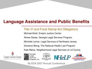 Language Assistance and Public Benefits