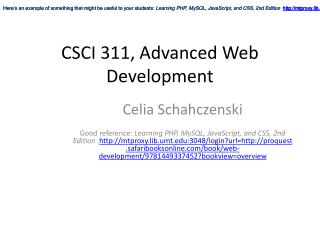 CSCI 311 , Advanced  Web Development