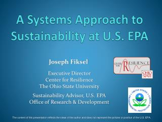 A Systems Approach to Sustainability at U.S. EPA