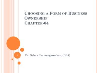 Choosing a Form of Business Ownership Chapter-04