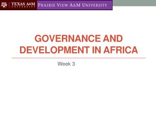 Governance and Development in Africa