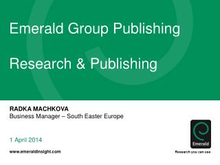 Emerald Group Publishing Research & Publishing