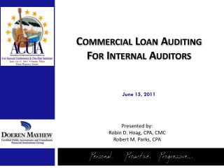 Commercial Loan Auditing  For Internal Auditors