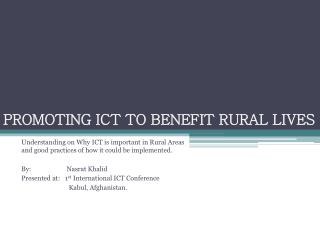 PROMOTING ICT TO BENEFIT RURAL LIVES