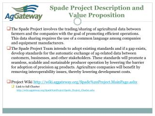 Spade Project Description and Value Proposition