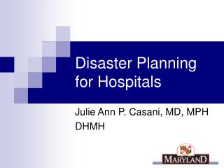 Disaster Planning for Hospitals